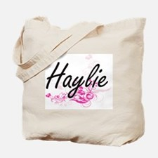 Haylie Artistic Name Design with Flowers Tote Bag