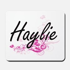 Haylie Artistic Name Design with Flowers Mousepad