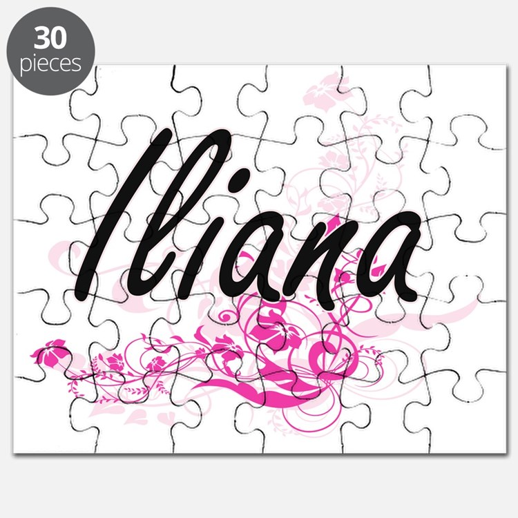Iliana Artistic Name Design with Flowers Puzzle