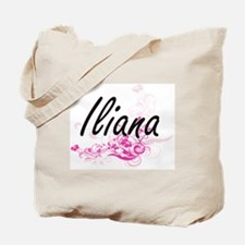 Iliana Artistic Name Design with Flowers Tote Bag