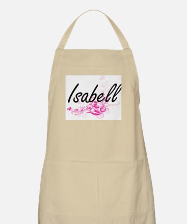 Isabell Artistic Name Design with Flowers Apron