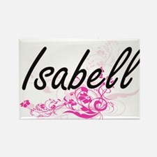 Isabell Artistic Name Design with Flowers Magnets