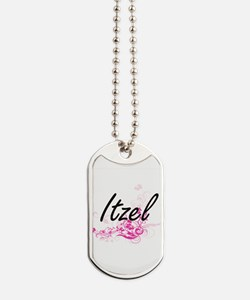 Itzel Artistic Name Design with Flowers Dog Tags