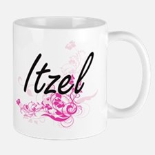 Itzel Artistic Name Design with Flowers Mugs