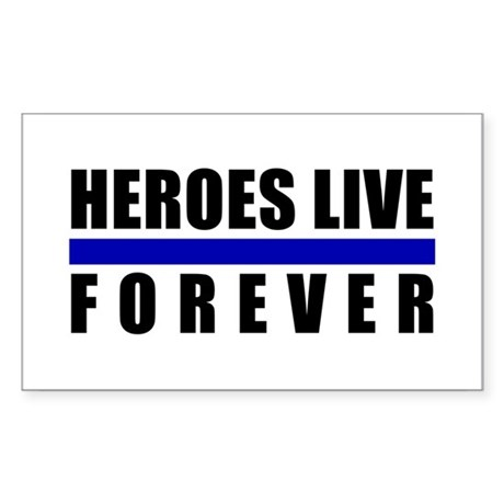 Heroes Blue Line Rectangle Sticker