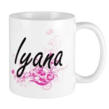 Iyana Artistic Name Design with Flowers Mugs