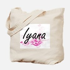 Iyana Artistic Name Design with Flowers Tote Bag
