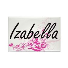 Izabella Artistic Name Design with Flowers Magnets