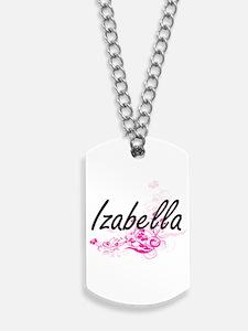 Izabella Artistic Name Design with Flower Dog Tags