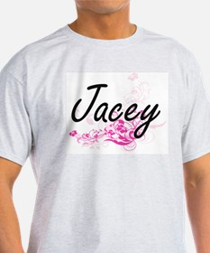 Jacey Artistic Name Design with Flowers T-Shirt