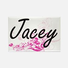 Jacey Artistic Name Design with Flowers Magnets