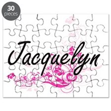 Jacquelyn Artistic Name Design with Flowers Puzzle