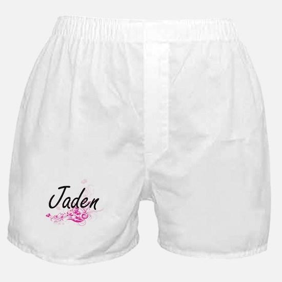 Jaden Artistic Name Design with Flowe Boxer Shorts