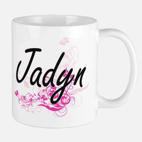 Jadyn Artistic Name Design with Flowers Mugs