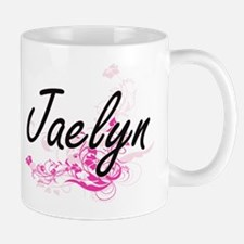 Jaelyn Artistic Name Design with Flowers Mugs