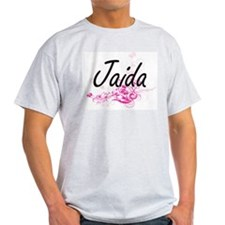 Jaida Artistic Name Design with Flowers T-Shirt