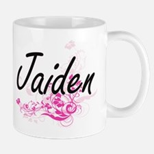 Jaiden Artistic Name Design with Flowers Mugs