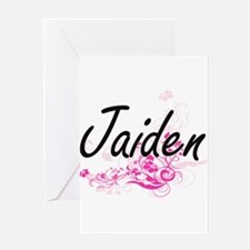 Jaiden Artistic Name Design with Fl Greeting Cards