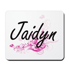 Jaidyn Artistic Name Design with Flowers Mousepad