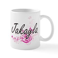 Jakayla Artistic Name Design with Flowers Mugs