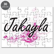Jakayla Artistic Name Design with Flowers Puzzle