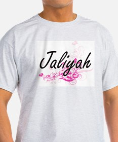Jaliyah Artistic Name Design with Flowers T-Shirt
