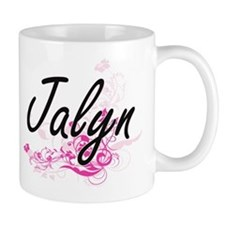 Jalyn Artistic Name Design with Flowers Mugs