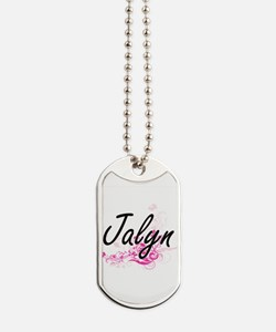 Jalyn Artistic Name Design with Flowers Dog Tags