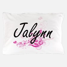 Jalynn Artistic Name Design with Flowe Pillow Case
