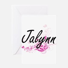 Jalynn Artistic Name Design with Fl Greeting Cards