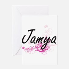 Jamya Artistic Name Design with Flo Greeting Cards