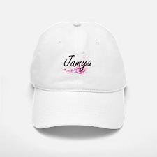 Jamya Artistic Name Design with Flowers Baseball Baseball Cap