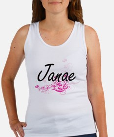Janae Artistic Name Design with Flowers Tank Top