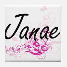 Janae Artistic Name Design with Flowe Tile Coaster
