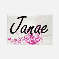 Janae Artistic Name Design with Flowers Magnets