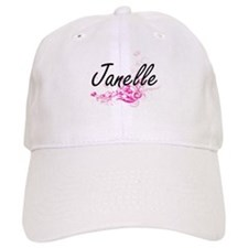 Janelle Artistic Name Design with Flowers Baseball Cap