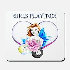 Girls Play Pool Too Mousepad
