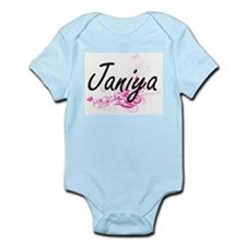 Janiya Artistic Name Design with Flowers Body Suit