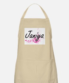 Janiya Artistic Name Design with Flowers Apron