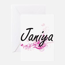 Janiya Artistic Name Design with Fl Greeting Cards