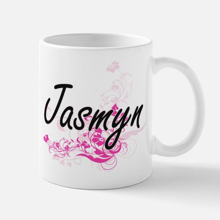 Jasmyn Artistic Name Design with Flowers Mugs