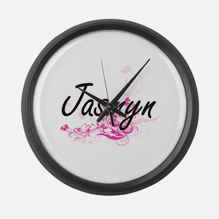 Jasmyn Artistic Name Design with Large Wall Clock