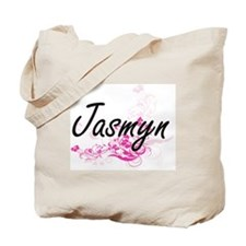 Jasmyn Artistic Name Design with Flowers Tote Bag