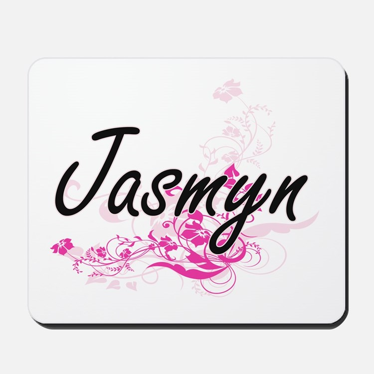 Jasmyn Artistic Name Design with Flowers Mousepad