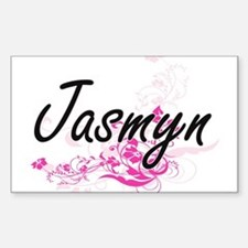 Jasmyn Artistic Name Design with Flowers Decal