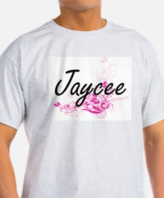 Jaycee Artistic Name Design with Flowers T-Shirt