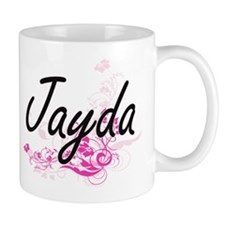 Jayda Artistic Name Design with Flowers Mugs