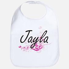 Jayla Artistic Name Design with Flowers Bib