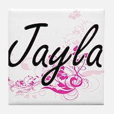 Jayla Artistic Name Design with Flowe Tile Coaster