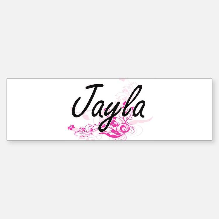 Jayla Artistic Name Design with Flo Bumper Car Car Sticker